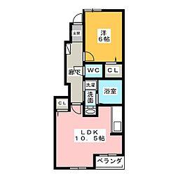 アドーラ木曽川II[1階]の間取り