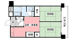 武庫川団地(UR)12号棟[1509号室]の間取り
