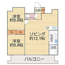 W.O.B.KYOBASHI(ウォブキョウバシ) 13階2LDKの間取り