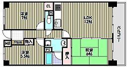 ライオンズマンション千代田弐番館[13階]の間取り