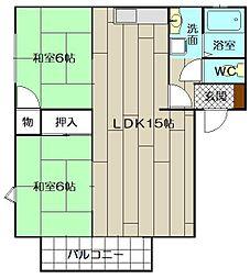 カサブランカパートI B棟[101号室]の間取り
