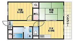 カルム東大阪[2階]の間取り