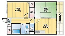 カルム東大阪[202号室号室]の間取り