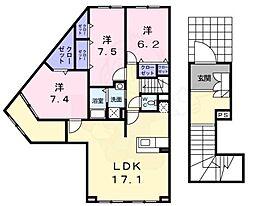 南海高野線 萩原天神駅 徒歩18分の賃貸アパート 2階3LDKの間取り