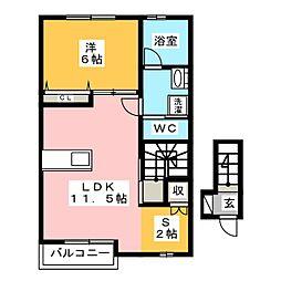 グランツリー富塚 2階1SLDKの間取り