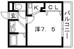 カインド高井田[206号室号室]の間取り