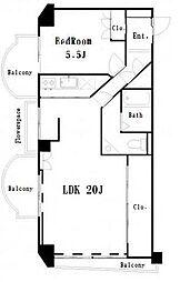 セントラル第2青山[306号室]の間取り
