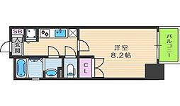 レジュールアッシュ梅田リュクス 12階1Kの間取り