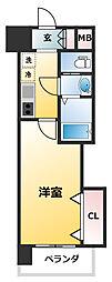 Luxe新大阪EAST2 2階1Kの間取り