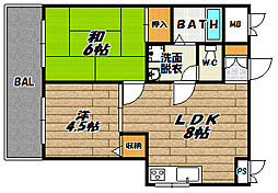 大阪府大阪市東淀川区小松3の賃貸マンションの間取り