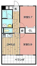 ニューシティアパートメンツ南小倉Ⅰ[10階]の間取り