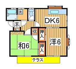 エコーハイツ2[1階]の間取り