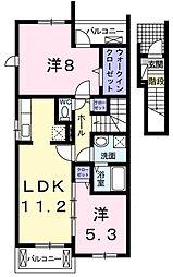 東京都東久留米市下里5丁目の賃貸アパートの間取り