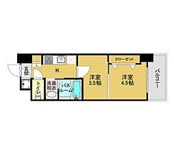 福岡市地下鉄箱崎線 貝塚駅 徒歩12分の賃貸マンション 2階2Kの間取り