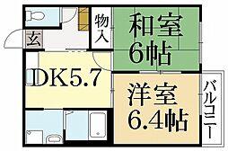 ヴィヴァーチェ西賀茂[2階]の間取り
