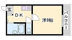 シャインコスモマンション 1階1DKの間取り
