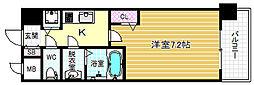 メインステージ大阪福島 4階1Kの間取り