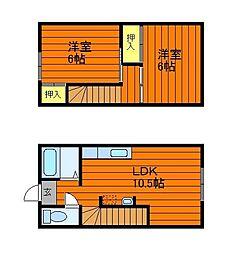 岡山県倉敷市中島の賃貸アパートの間取り