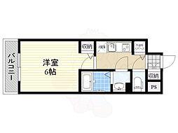 グランカリテ新大阪WEST 10階1Kの間取り