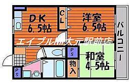 岡山県岡山市北区今6丁目の賃貸マンションの間取り