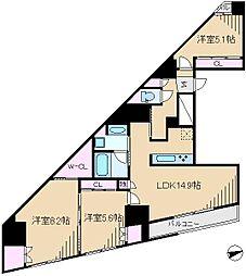 GENOVIA駒込駅 green veil[6階]の間取り