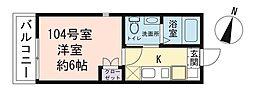 レガーロ羽沢南 1階1Kの間取り