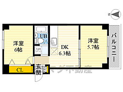 仙台坂アルカディア 3階2DKの間取り