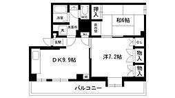 甲東園ハイツ[3A号室]の間取り