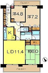 ヴィルヌーブ横浜港南台[2階]の間取り