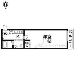 京阪本線 七条駅 徒歩5分の賃貸マンション 1階1Kの間取り