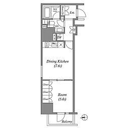 JR山手線 上野駅 徒歩5分の賃貸マンション 13階1DKの間取り