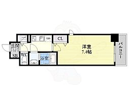 Mid Court Umekita 3階1Kの間取り