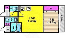 阪急京都本線 桂駅 徒歩7分の賃貸マンション 1階1LDKの間取り