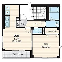 都営三田線 白金台駅 徒歩12分の賃貸マンション 2階1LDKの間取り