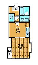 サニーフラット57[1階]の間取り