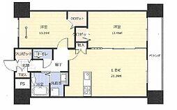 JR東北本線 福島駅 徒歩11分の賃貸マンション 11階2LDKの間取り