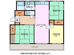 鹿子コーポラス[3階]の間取り