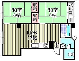 大阪府和泉市府中町の賃貸マンションの間取り