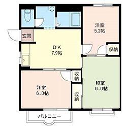 MASTウィステリア26 201号室 2階3DKの間取り