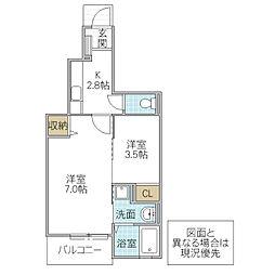 木村ロイヤルマンション VI[105号室号室]の間取り