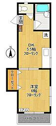 神奈川県川崎市多摩区菅北浦2丁目の賃貸アパートの間取り