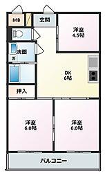 神明台ハイツ(シンメイダイハイツ)[3階]の間取り