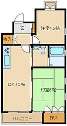 兵庫県尼崎市南塚口町8丁目の賃貸マンションの間取り