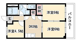 愛知県名古屋市天白区笹原町の賃貸アパートの間取り