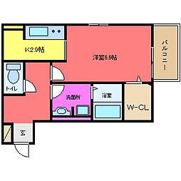 セジュールユイット西岩田[203号室]の間取り