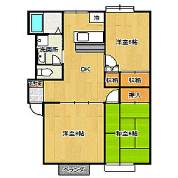 メゾン貝ヶ森II 1階3DKの間取り