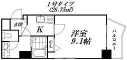 京阪本線 守口市駅 徒歩6分の賃貸マンション 2階1Kの間取り