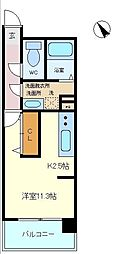 仙台市営南北線 五橋駅 徒歩15分の賃貸マンション 6階ワンルームの間取り