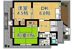 奈良県奈良市西大寺小坊町の賃貸アパートの間取り