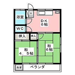須崎コーポ西棟 2階2DKの間取り